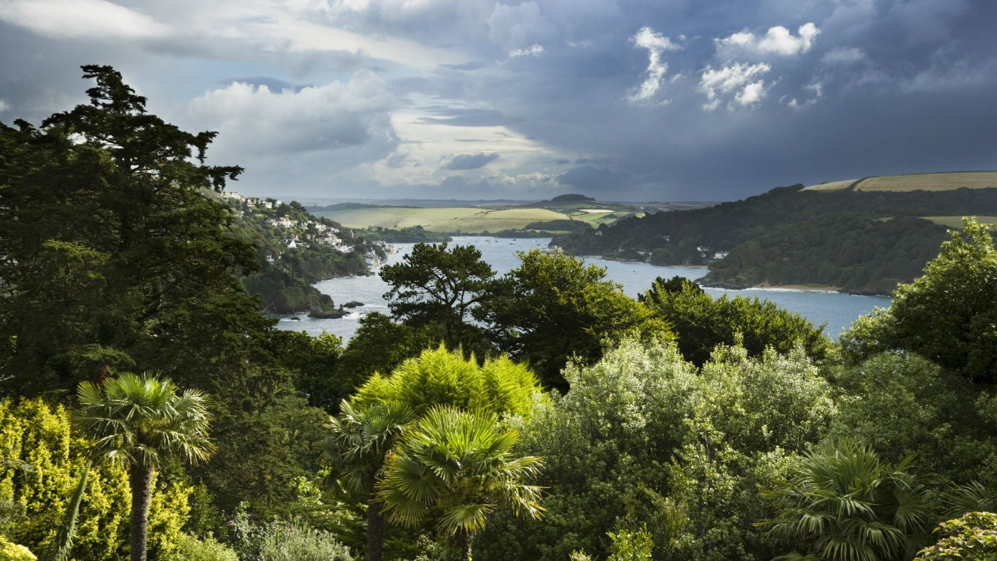 The view over the Salcombe estuary from the house and garden at Overbeck's, Devon.