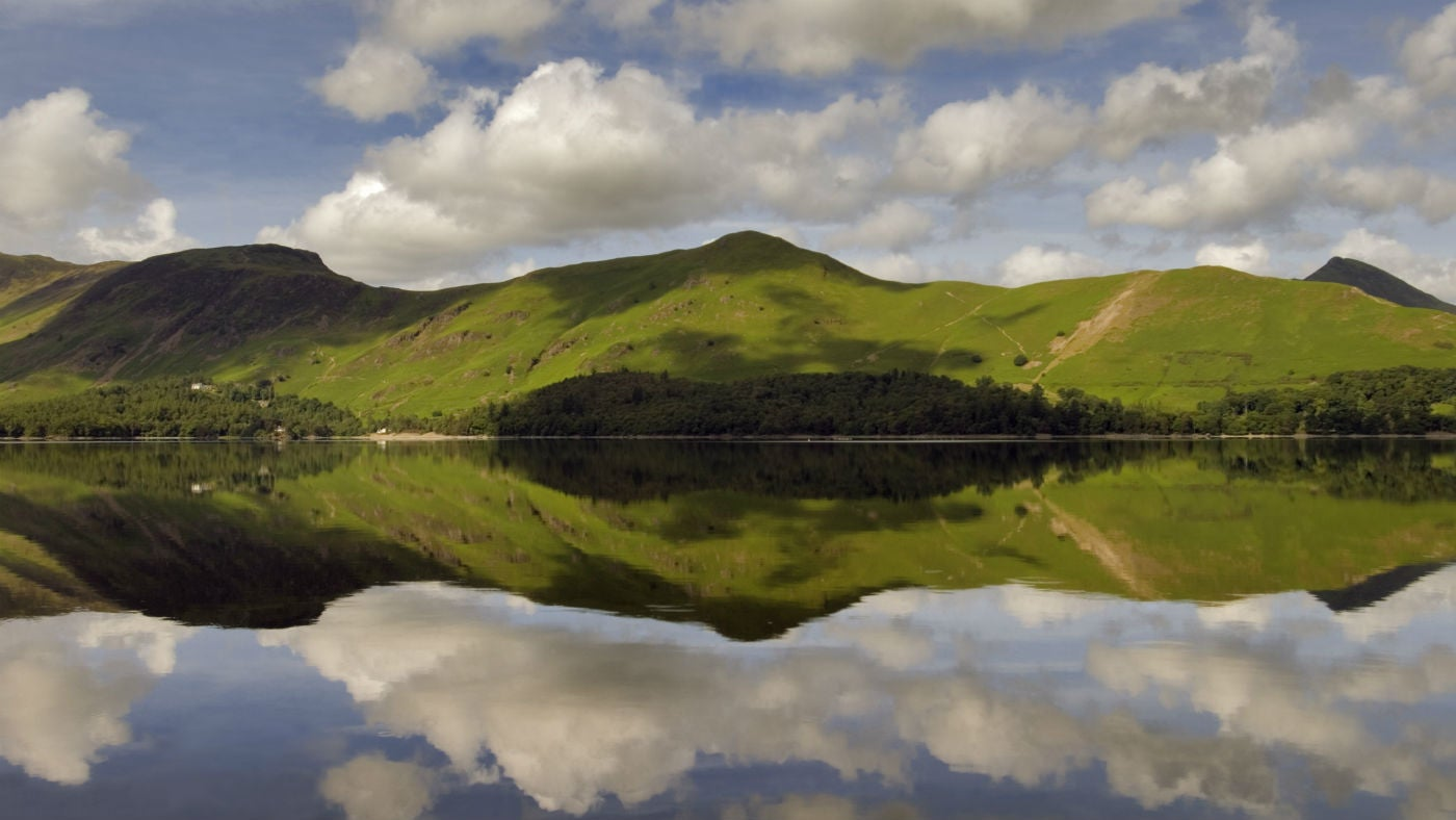 Catbells with cloud reflections on Derwentwater, Cumbria