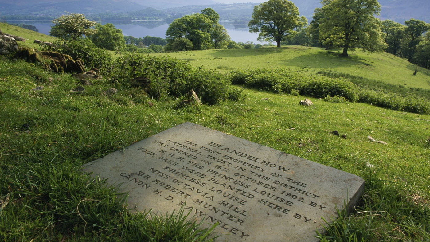 The Memorial Stone in Brandelhow Park, commemorating the first National Trust acquisition in the Lake District