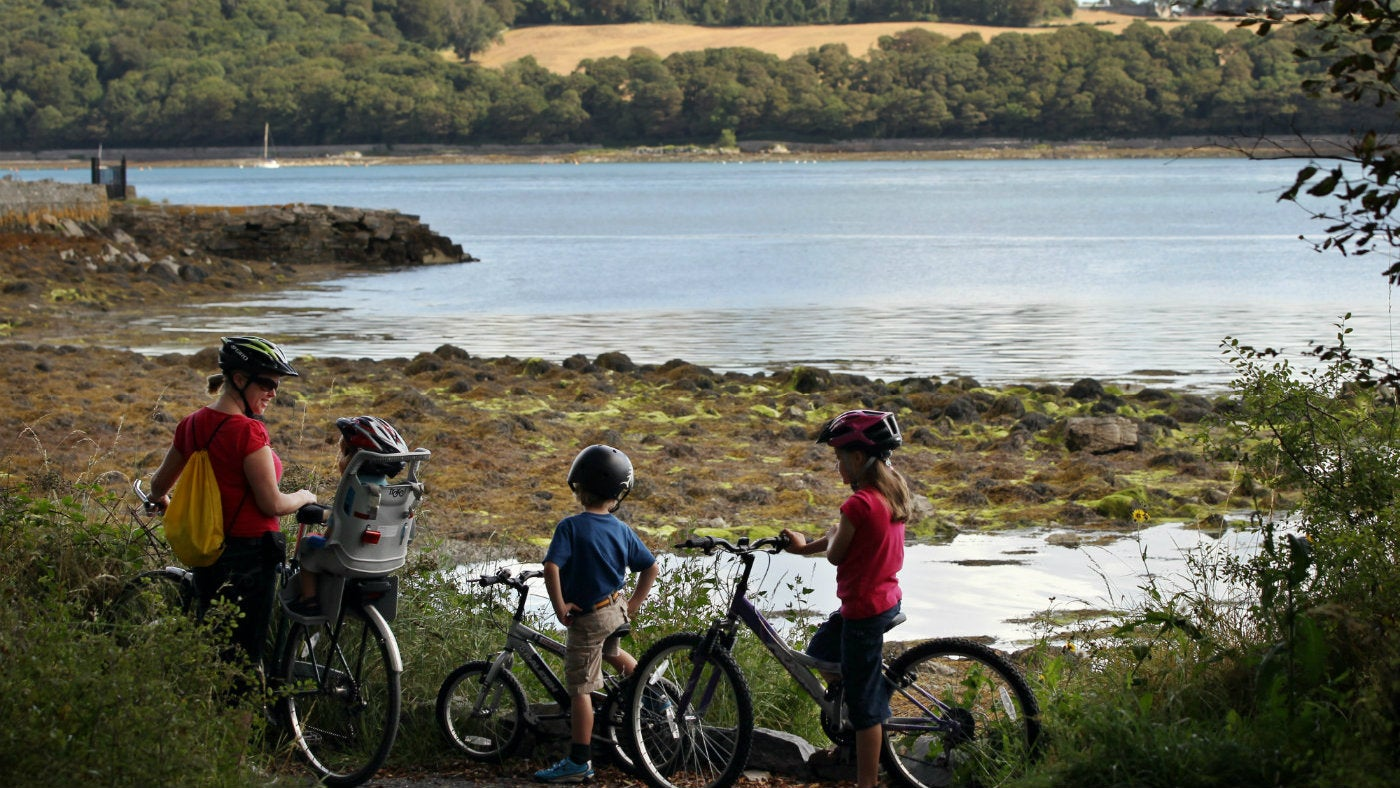 Visitors on bicycles on lough shore