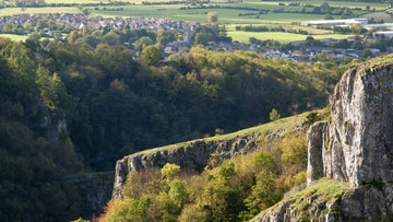 A view across the top of Cheddar Gorge - a limestone gorge in the Mendip Hills near the village of Cheddar, Somerset