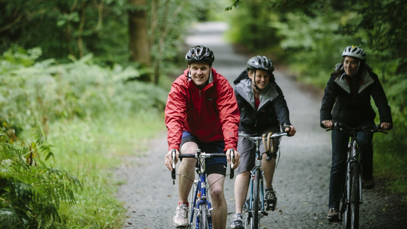 Cyclists on the west shore track, Windermere, Cumbria