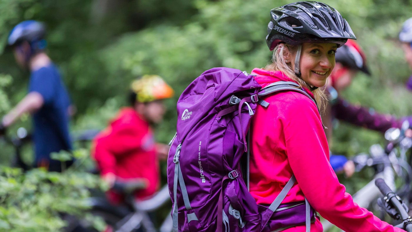Cyclist with Cotswold Outdoor kit