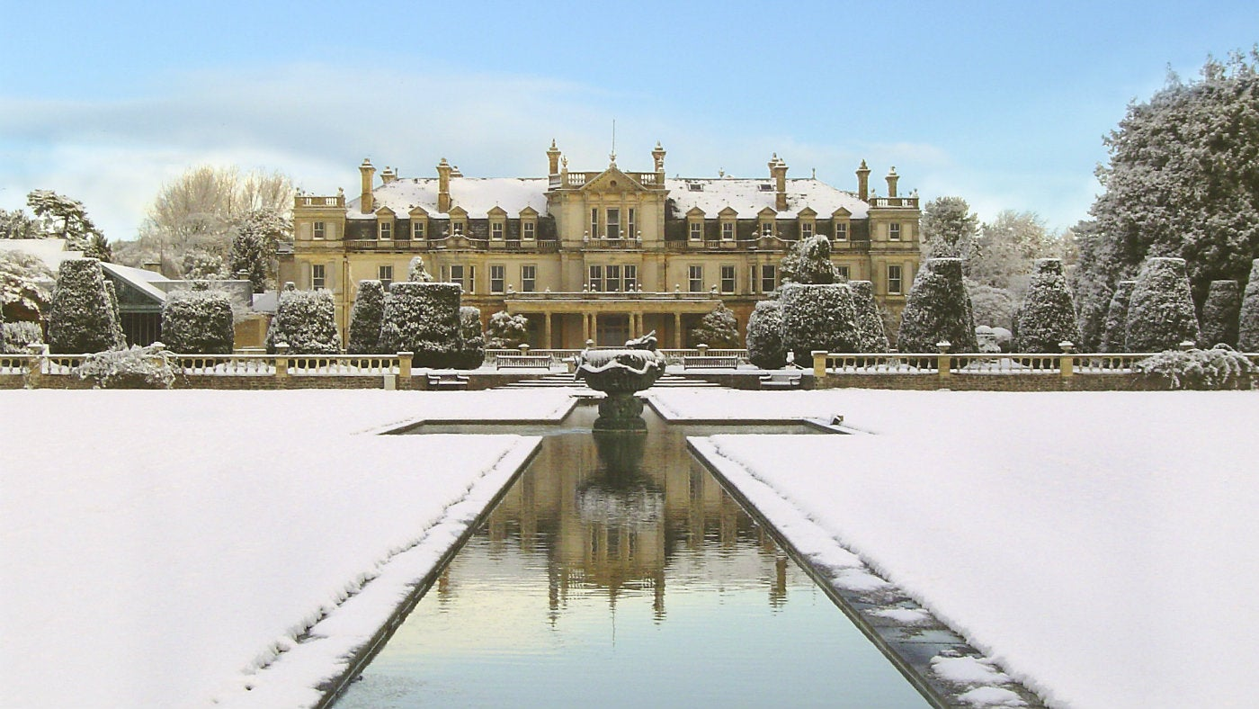 Dyffryn house in the snow