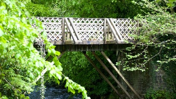 A wooden bridge that taes you over the Cothi River