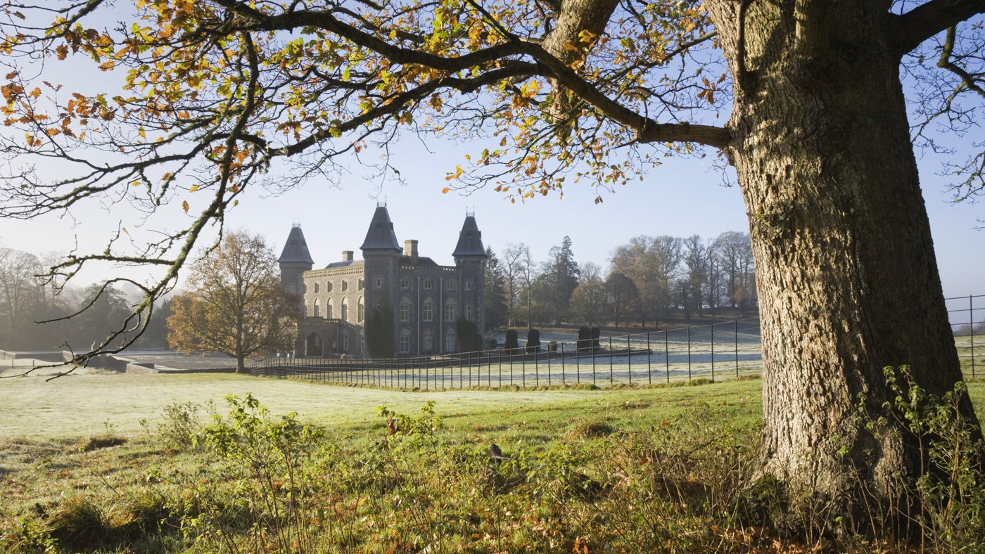 Autumnal view at Newton House at Dinefwr, Carmarthenshire