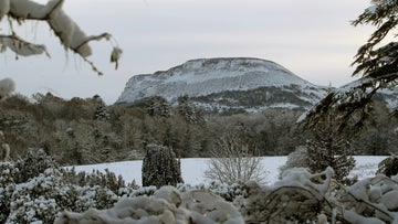 A winter view across to Benaughlin mountain in the snow