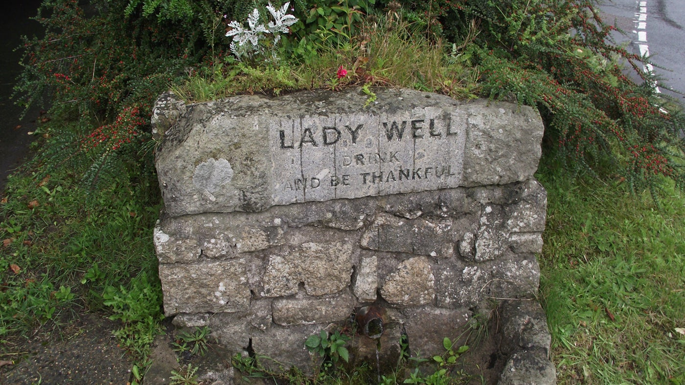 Stone sign post for Lady Well, Sticklepath, Devon