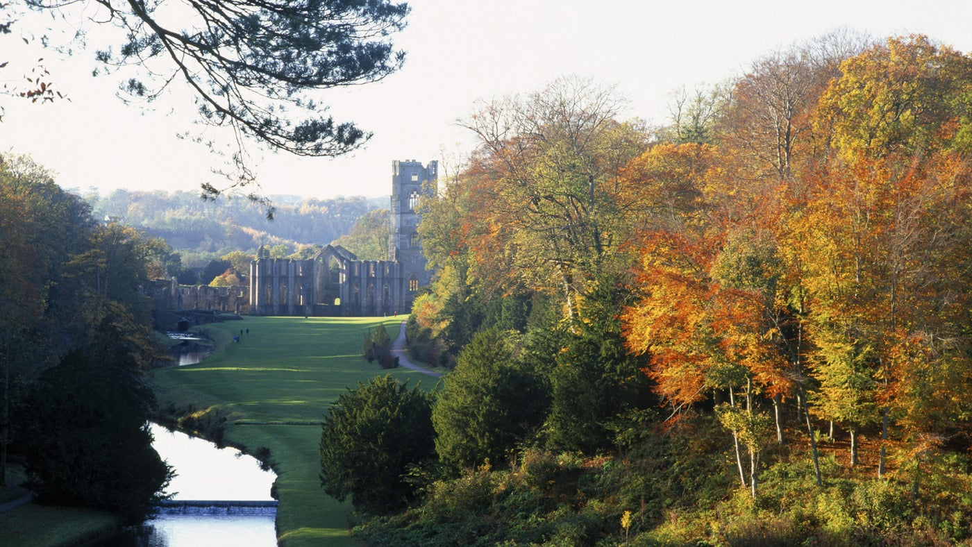 Distant view of Fountains Abbey from Anne Boleyn's seat in Studley Royal Water Garden, North Yorkshire