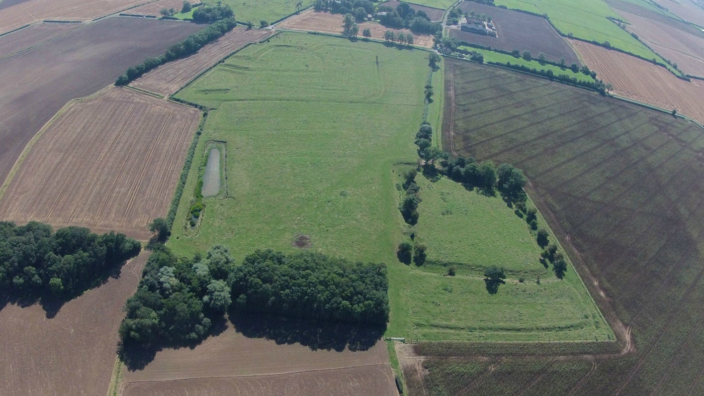 Aerial view of the remains of Bratoft Manor
