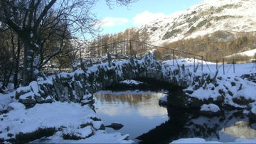 Slaters Bridge in the snow, Little Langdale, Cumbria