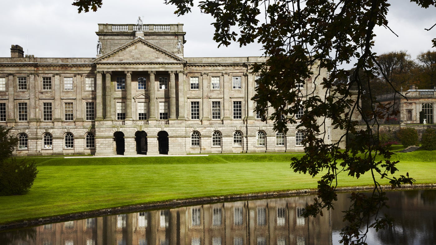 The lake and south front of Lyme Park, Cheshire
