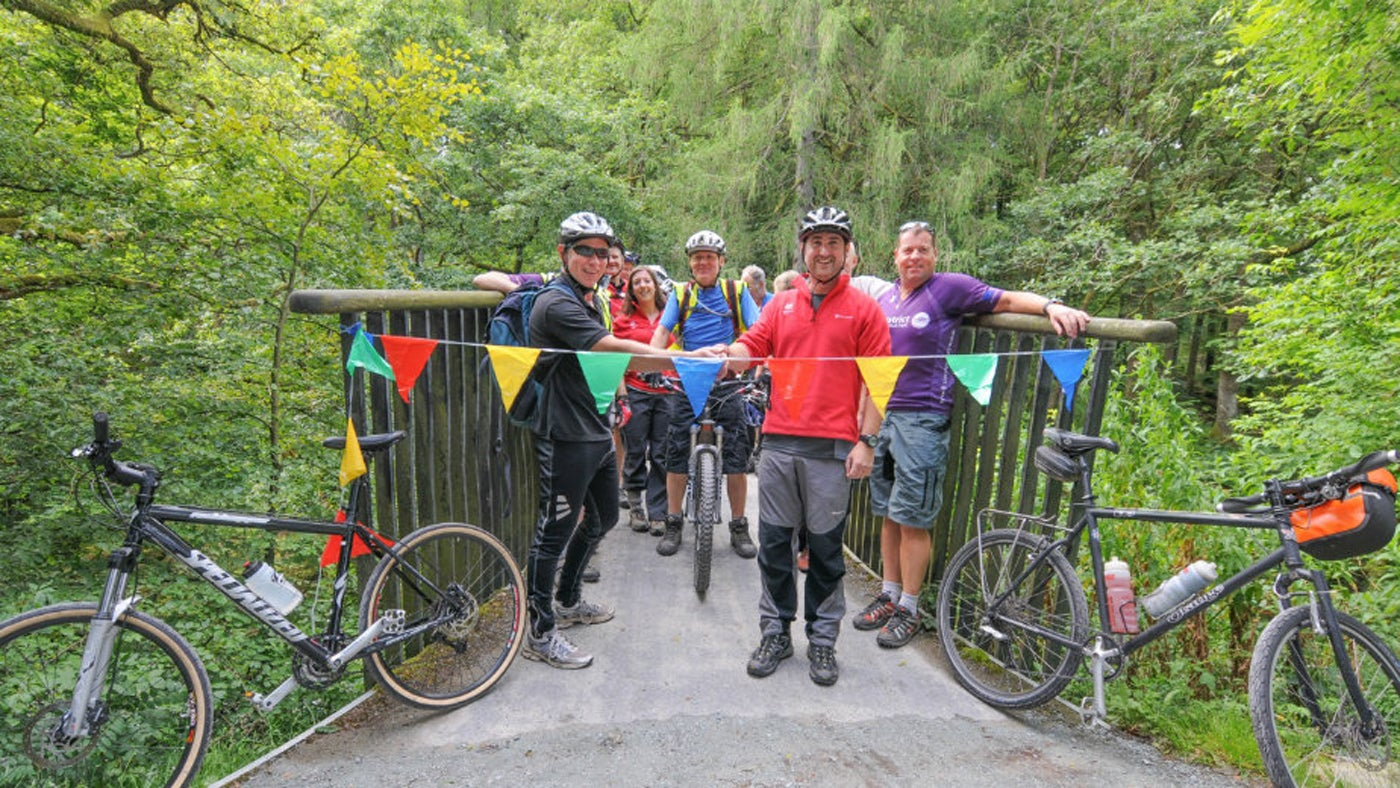 Celebrating the opening of the cycle trail at the Memorial Bridge