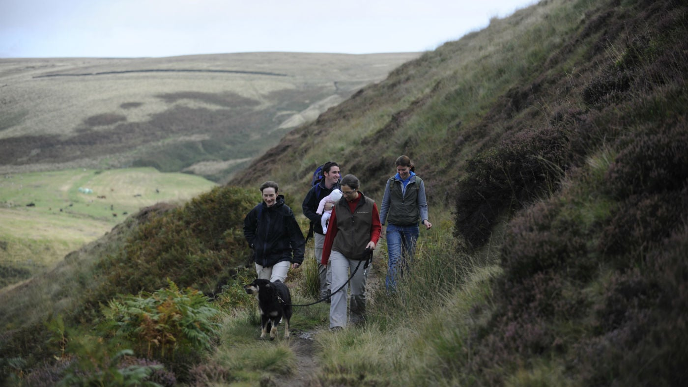 Walkers with dog on Marsden Moor, West Yorkshire