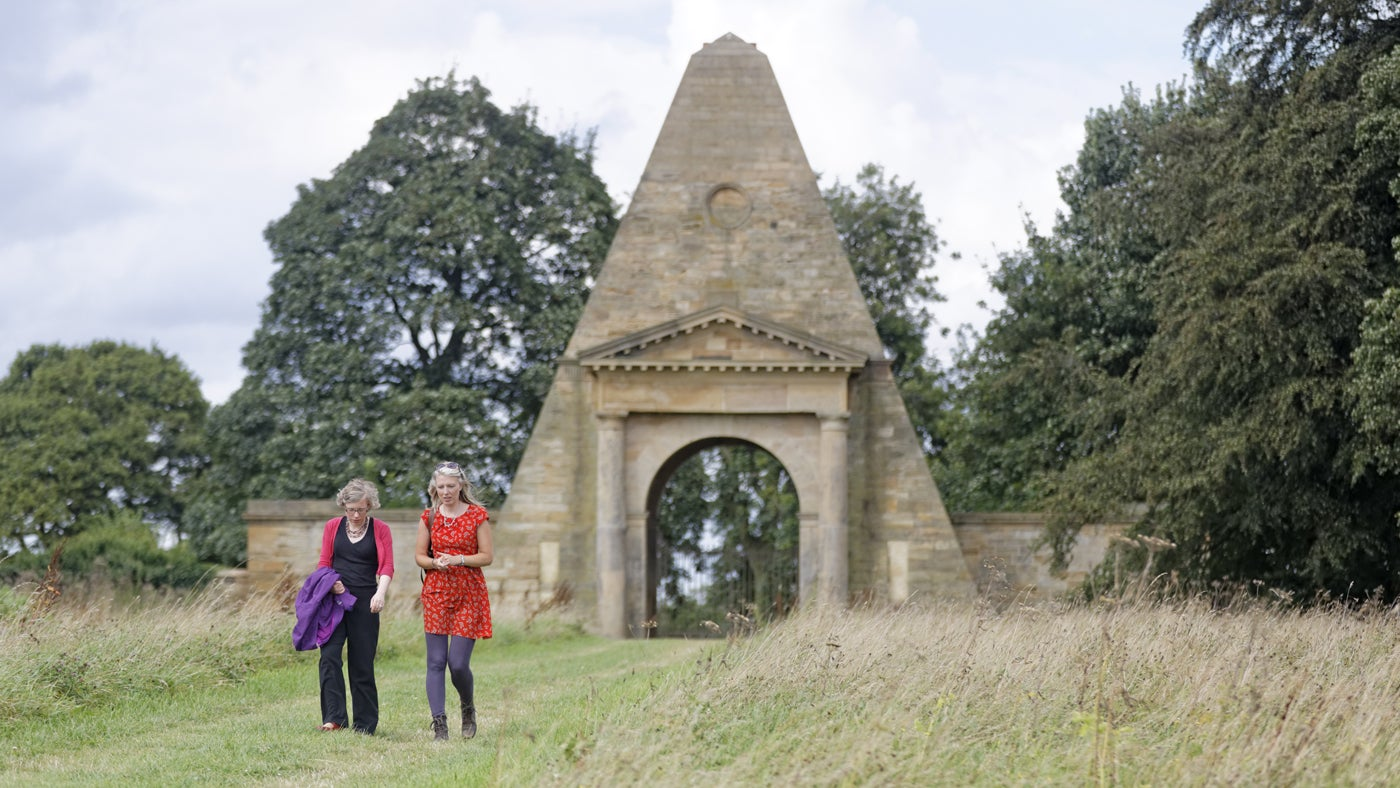 Visitors at the Obelisk Lodge, in the grounds of Nostell Priory, West Yorkshire