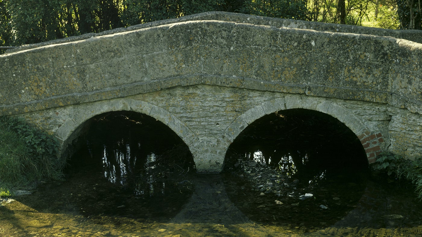 The Packhorse Bridge in Lacock Village in Wiltshire