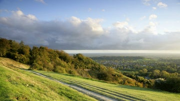 Looking east from the top of Reigate Hill in Surrey to the South Downs
