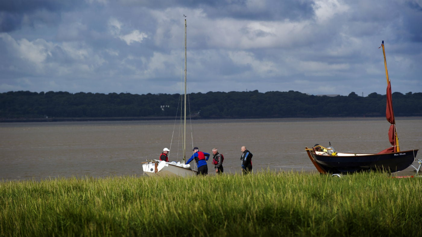 Boats near the River Mersey, seen from the Speke Garston Coastal Reserve