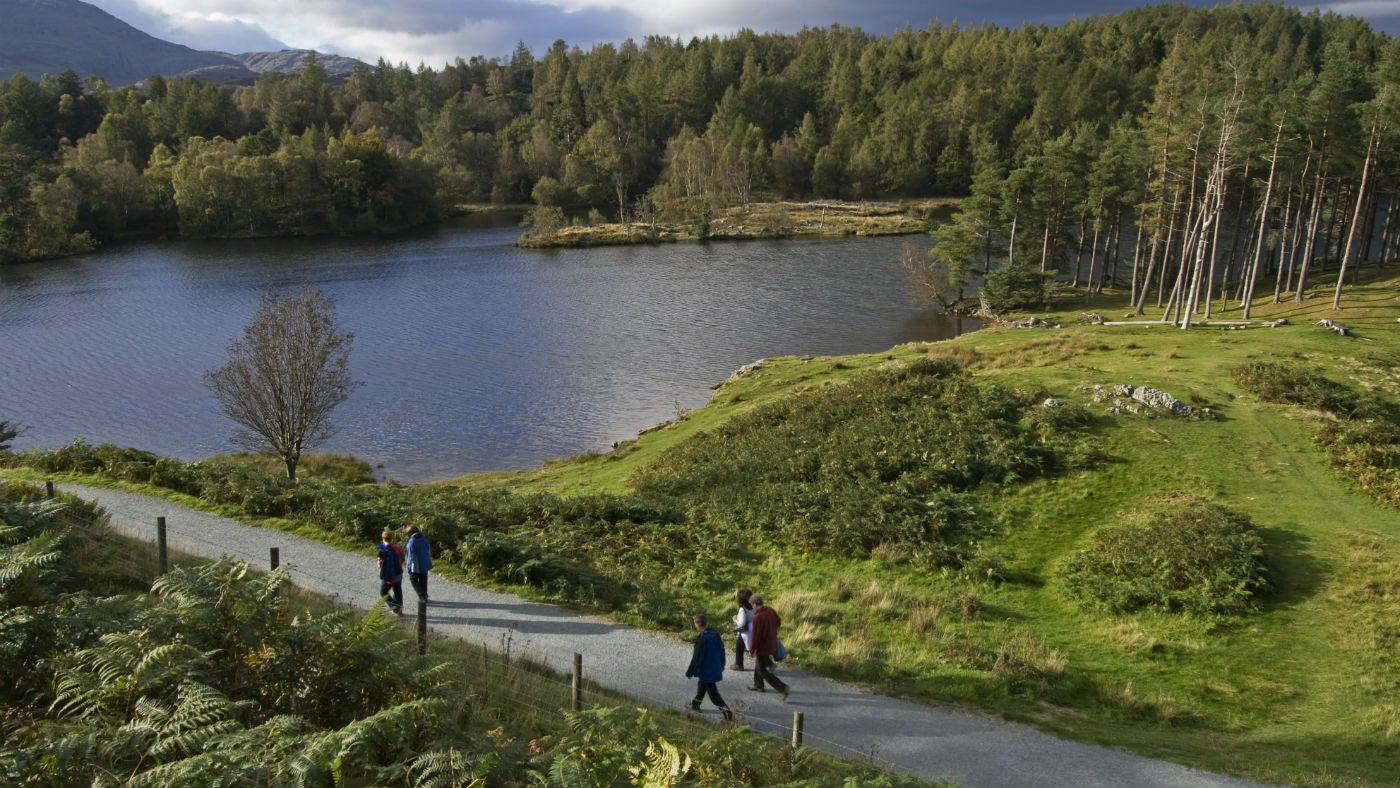 People walking on the path around Tarn Hows