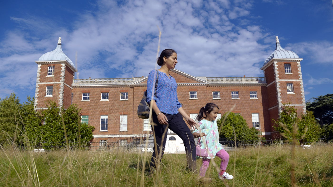Family visitors in the park at Osterley, Isleworth, Middlesex