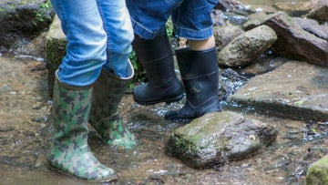 Wellie boot fun down in mill copse at Montacute House in Somerset
