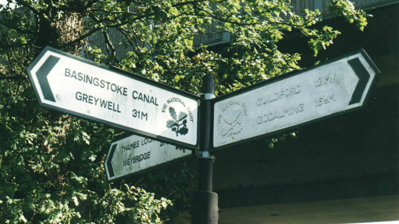 Fingerpost sign indicating the Basingstoke canal