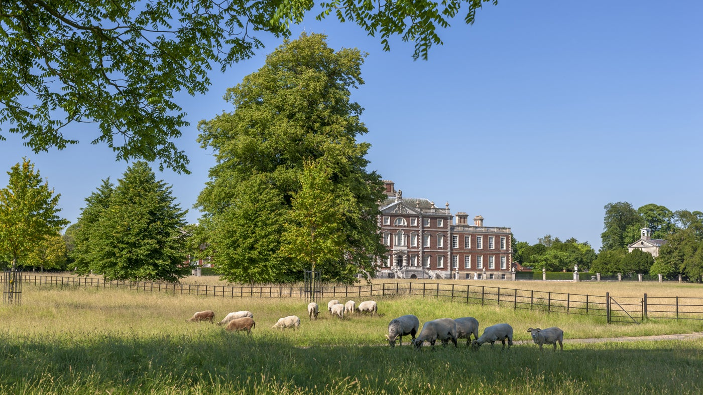 The south front of Wimpole Hall, Cambridgeshire, seen across the park