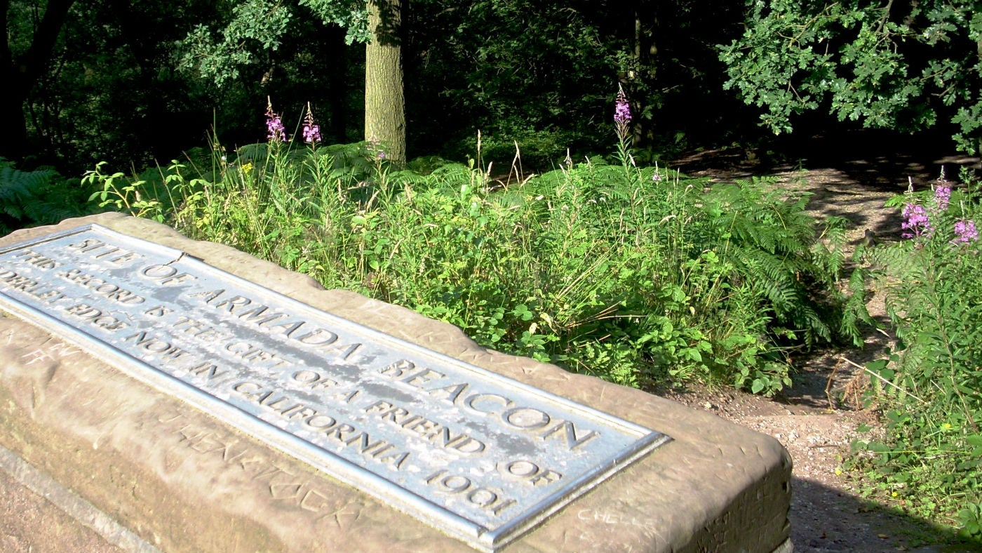 A plaque shows the original location of an Armada Beacon at Alderley Edge