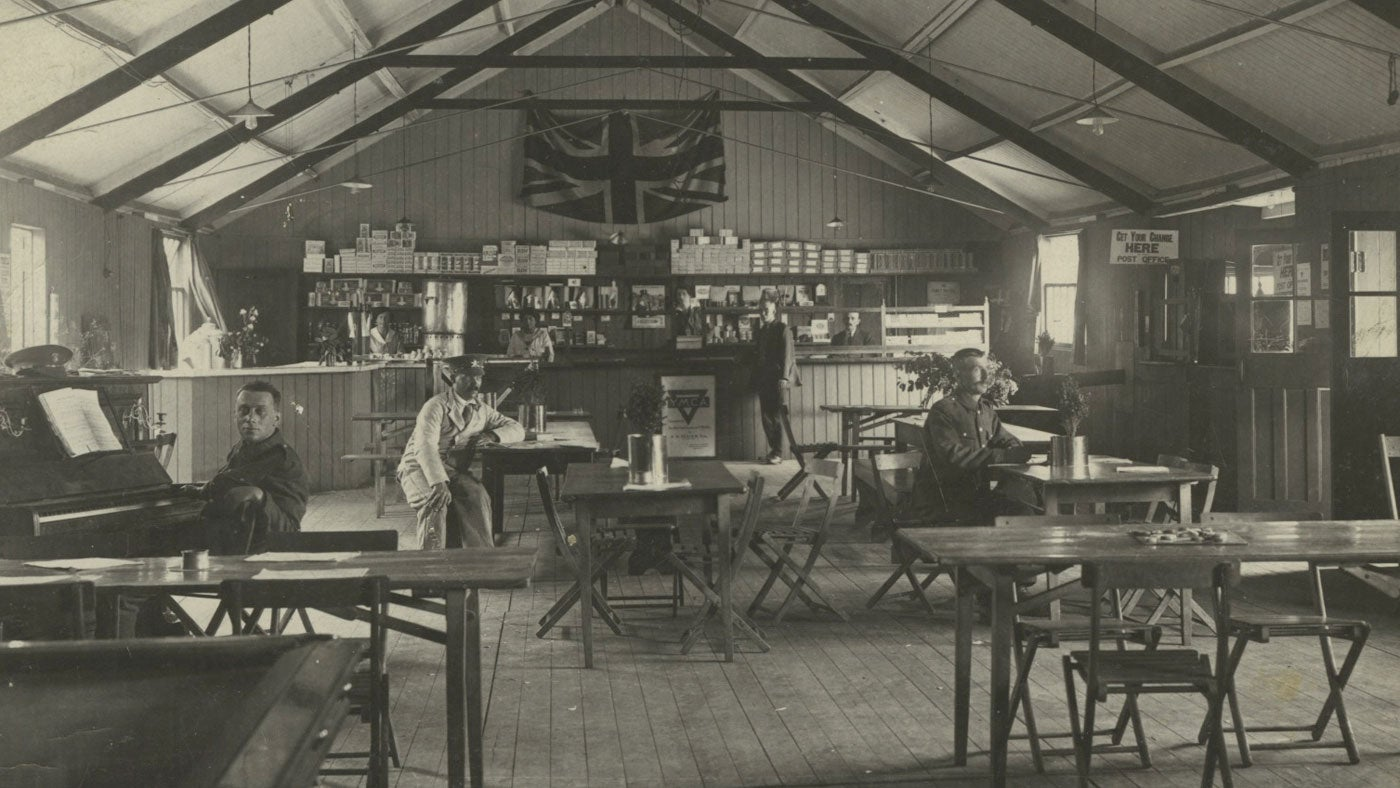 YMCA Hut at Belton Park during the First World War